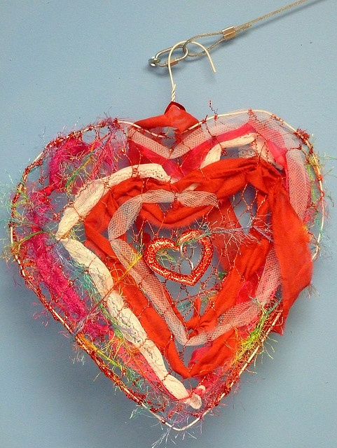 hearts, hanger plus chicken wire