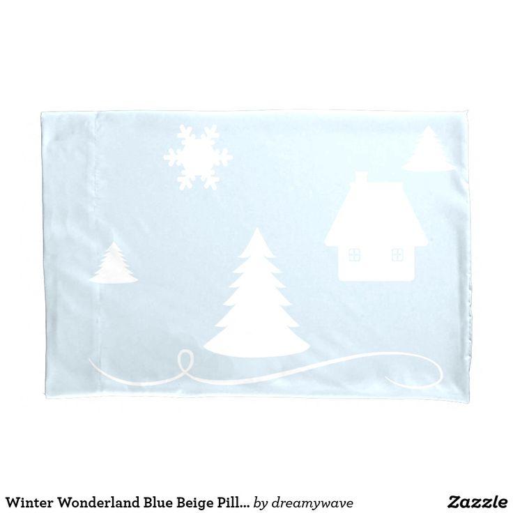 Winter Wonderland Blue Beige Pillow Case