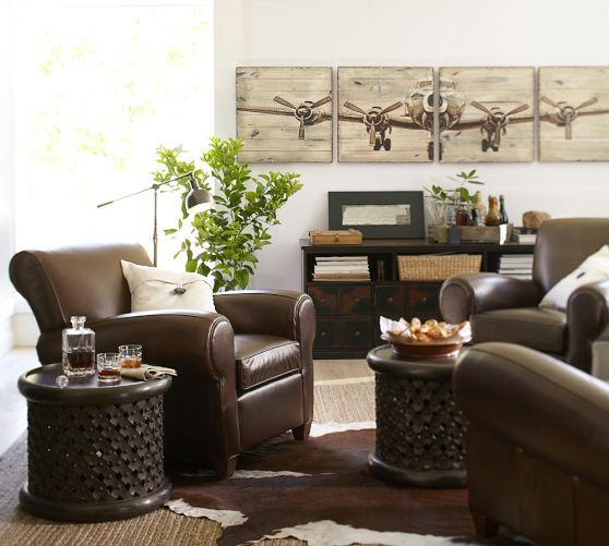 Pottery Barn Living Room / Dark Leather Couch Plants   Need A Couple Plants Part 13