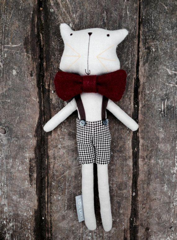 Felix-Handmade linen cat toy-retro toy-scandinavian by MariaBoczar on etsy