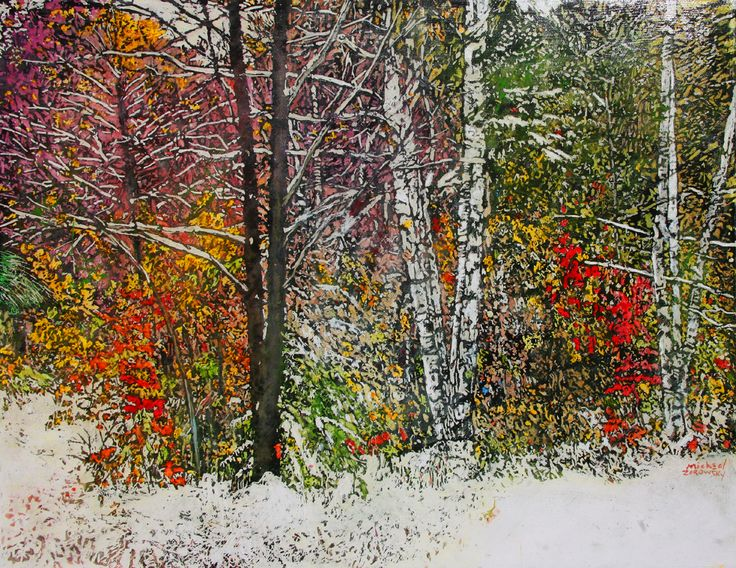 "overnight snowfall 60 winter datecrashed autumns party 26"" x 34""  micheal zarowsky / mixed media (watercolour / acrylic painted directly on gessoed birch panel) available $2100.00"