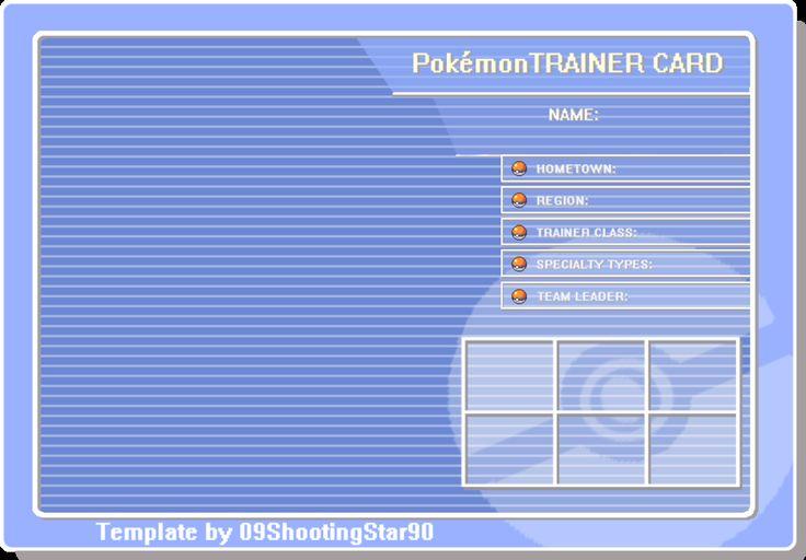 Trainer Card Blue Pokemon Trainer Card Pokemon Trainer Cards