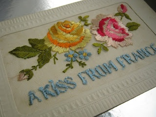 Embroidered by hand, silk thread on silk organza, these vivid cards whizzed across Europe to the loved and the missed during World War I.