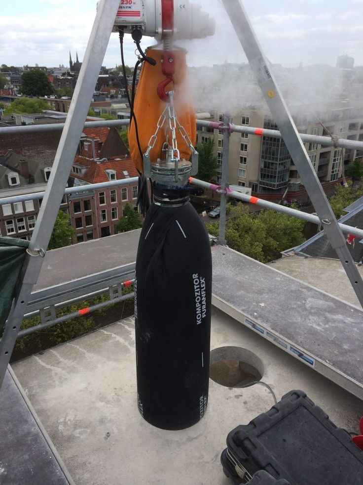 We installed 2 liners of diameter 350MM inside the chimney.