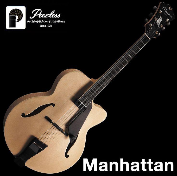 "Peerless Manhattan Full Hollow Body Carved Jazz Electric Guitar Natural 17"" OHSC #Peerless"