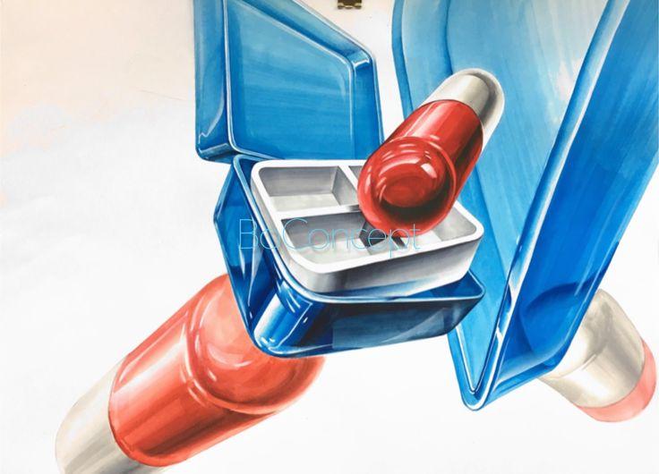 알약 약통 빨간색 흰색 파란색 그림자 기초디자인 구성 연출 표현 개체 묘사
