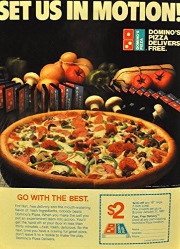 Vintage Dominos Pizza Magazine Ad | Dominos pizza ...