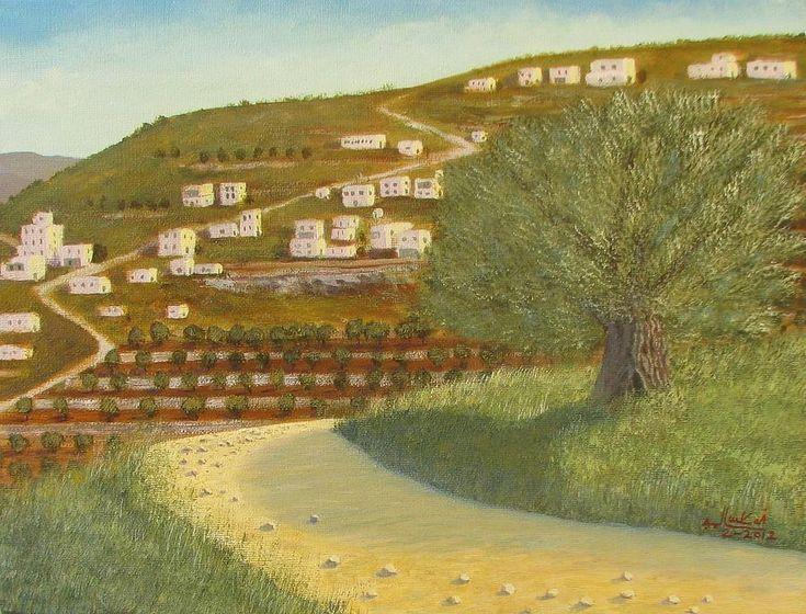 Bethlehem Mountains Painting  (Olive Tree) - Jamal Salameh