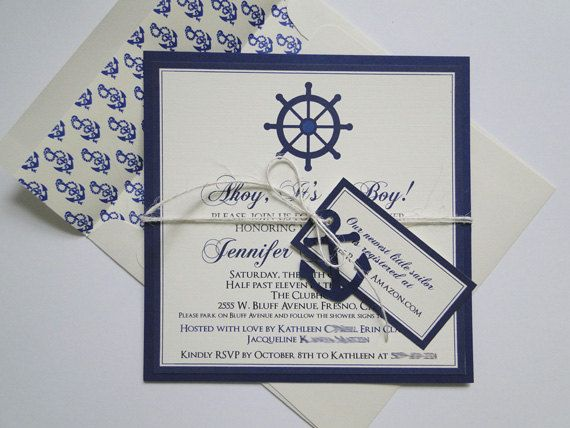 Anchor Invitations for Nautical Baby Shower or Birthday - Made to Order. $85.00…