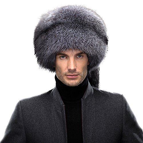 9cd00e7170967 URSFUR Men s Silver Fox Fur Davy Crockett hat Mongolia Caps ...