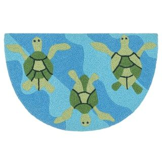Hand-hooked Marcy Ocean/ Green Turtle Hearth Rug (1'9 x 2'9)