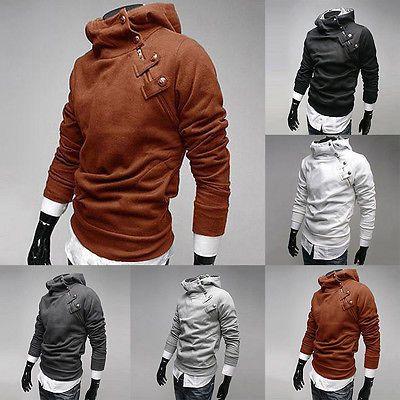 Fashion Zip Mens Fur Collar Coats Sweats Jackets Hoodies Slim Fit Casual in Ropa, calzado y accesorios, Ropa para hombre, Sudaderas con y sin capucha   eBay