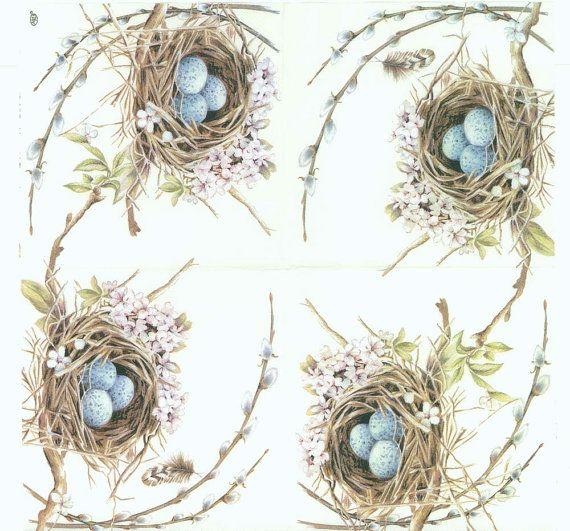 K--Decoupage Napkins Robin Bird Nest with Eggs by Chiarotino
