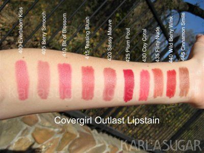 CoverGirl Outlast Lipstain Markers, Swatches, Photos, Reviews
