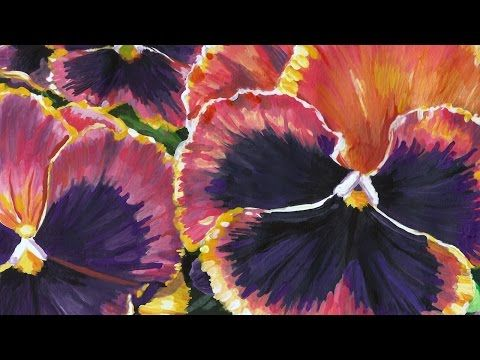"February Violas (Time-Lapse), 2015, Acrylic on Paper, 7 x 5 inches, Reference Courtesy of kkmarais on Flickr, Music: ""Midday Dance"" by Kevin MacLeod (incompetech.com) #art #flowers #painting #pansy #stilllife #violet"