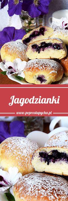 Mięciutkie drożdżowe ciasto, jagodowe nadzienie i lukier- połączenie idealne <3 Nie wyobrażam sobie bez nich lata! :) http://poprostupycha.com.pl/jagodzianki-najlepsze/