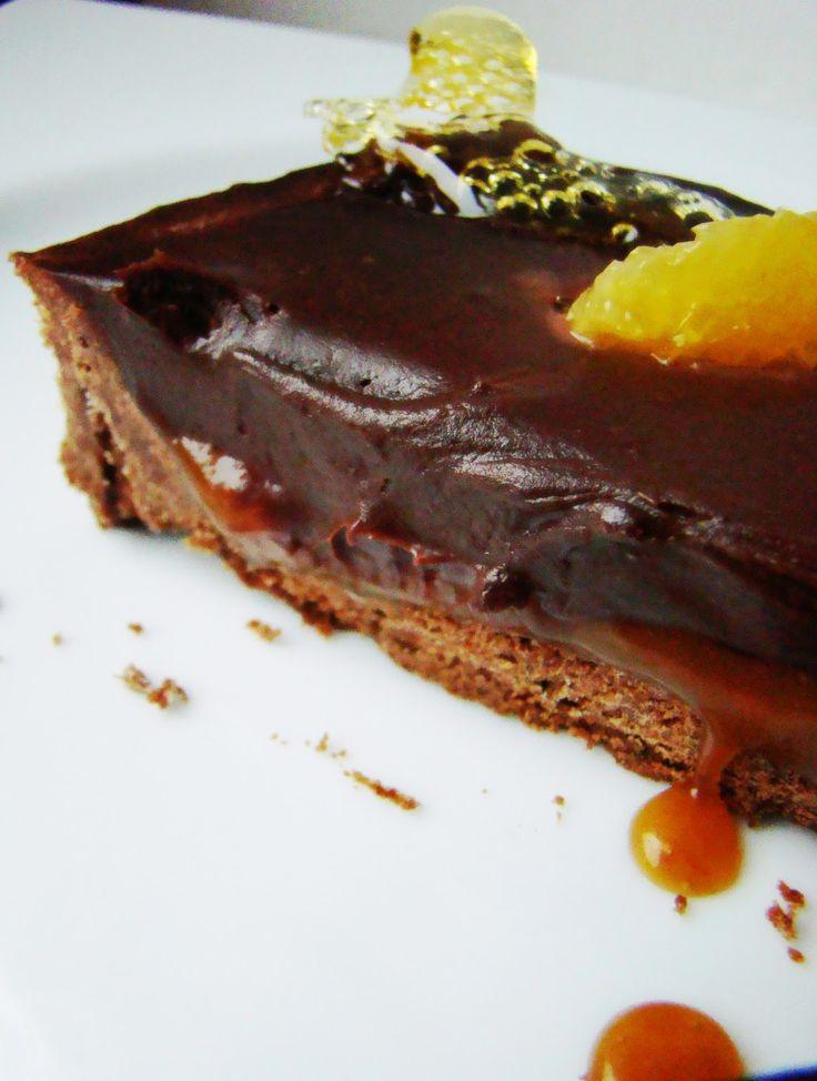 °°popote de véro°°: Tarte tout chocolat, ganache chocolat, caramel coulant au citron meyer...