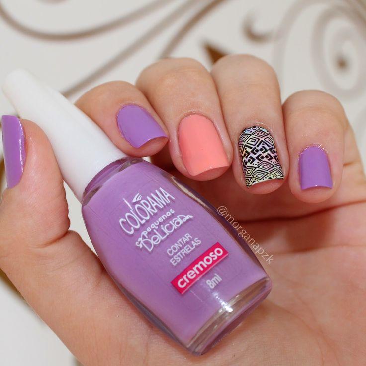Purple/Lilac and peach nails. Nail art. Nail design. Polish. Polishes. Unhas: Contar Estrelas + Cata Conchinhas + Película Tribal Estilo Rosa. By @morganapzk