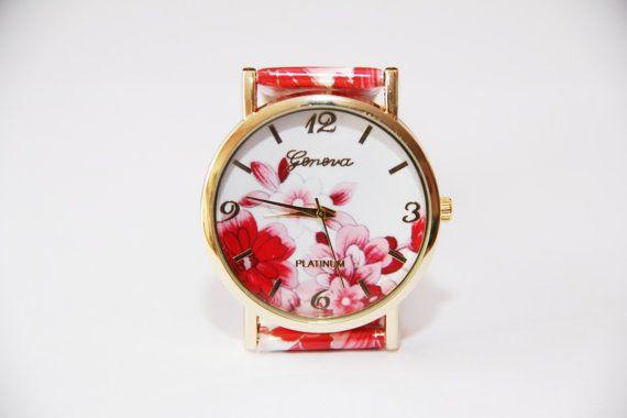 Orologio da polso con fiori rossi ladies watch di ShiningBead