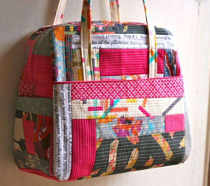 """quilt as you go. 14"""" wide across the top of the bag and 17"""" wide across the bottom x 14 1/2"""" tall x 7 1/2"""" deep"""