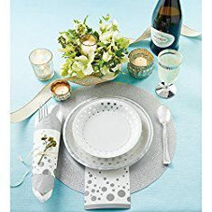 """Glitter Charger Plates. Creative Converting Glitz Silver Round Paper Placemats with 2"""" Glitter Border, 8 Count.  #glitter #charger #plates #glittercharger #chargerplates"""