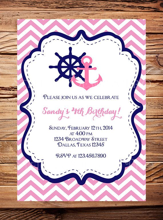 Nautical Birthday Invitation, Sailor, BOY, GIRL, Chevron Stripes, Navy, Pink, Yellow, Sailor Birthday Invitation, Boat, Anchor on Etsy, $21.00
