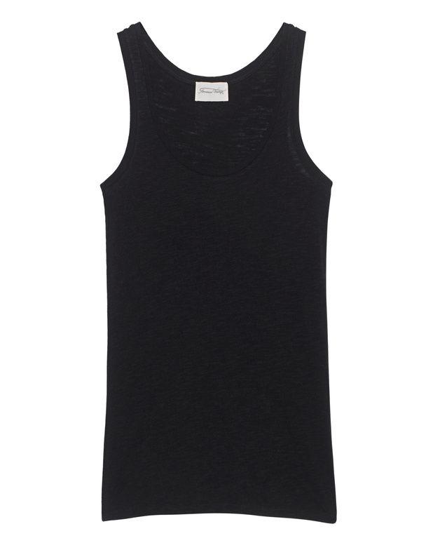 Baumwoll-Mix-Tanktop Basic-Mode auf hohem Niveau - schwarzes Tanktop aus einem soften Baumwoll-Viskose-Gemisch im schmalen Schnitt.  Ein echtes Four-Seasons-Piece - mit Skinny-Jeans und lässigen Accessoires wunderbar gestylt!