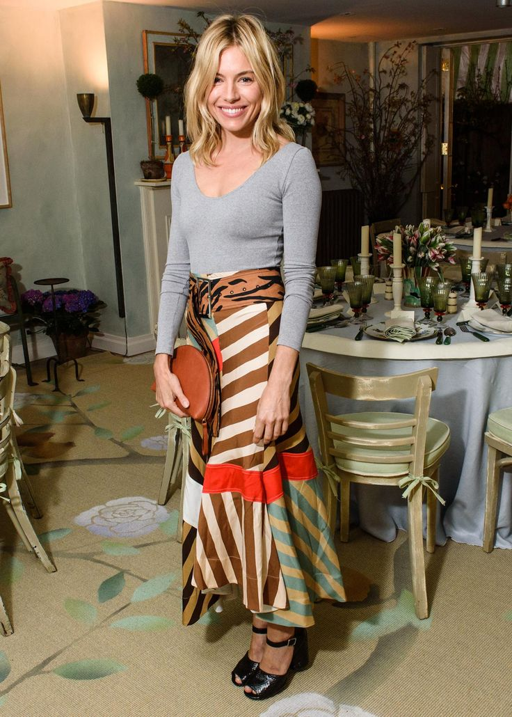 Sienna Miller Takes Stripes Into Cocktail Party Territory