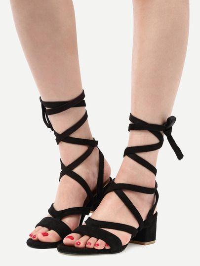 Shop Black Faux Suede Lace Up Sandals online. SheIn offers Black Faux Suede  Lace Up Sandals & more to fit your fashionable needs.