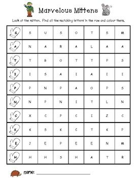 Mittens Jolly Phonics Letter Search (free!!)