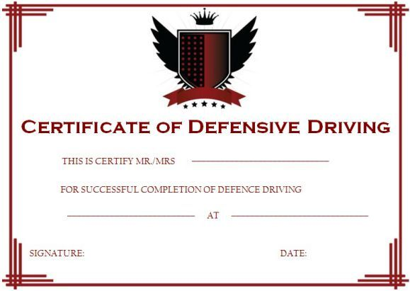 Defensive Driving Certificate Certificate Templates