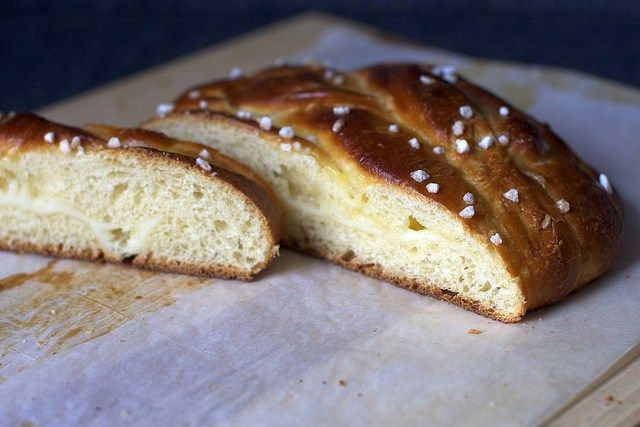 Lemon curd and sweet cream cheese filled braided bread