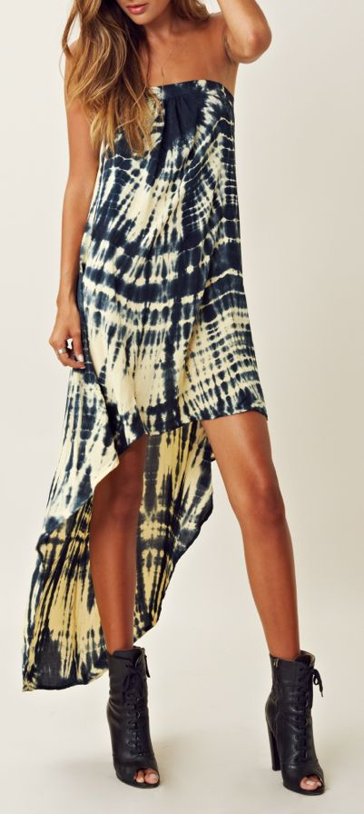 Blue Moon High Low open-back-tube-dress-by-sarahkd Tie Dye Maxi