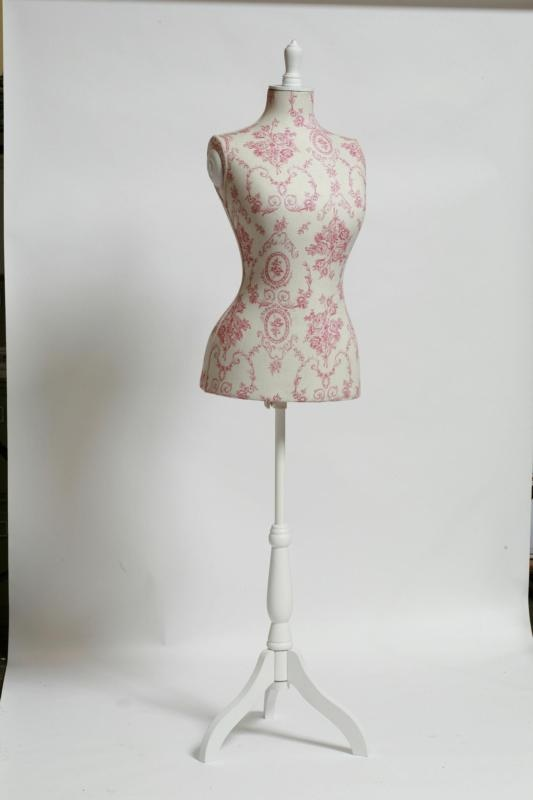 Dressmakers Mannequin With Pink Toile Fabric Toile I