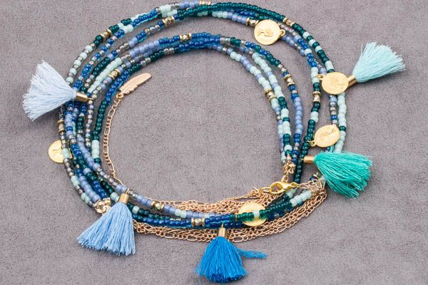 style necklace boho chic with beads toho and tassel