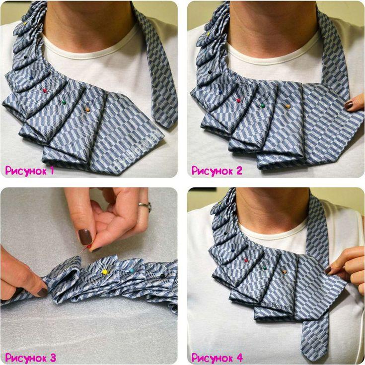 примерка украшения из мужского галстука