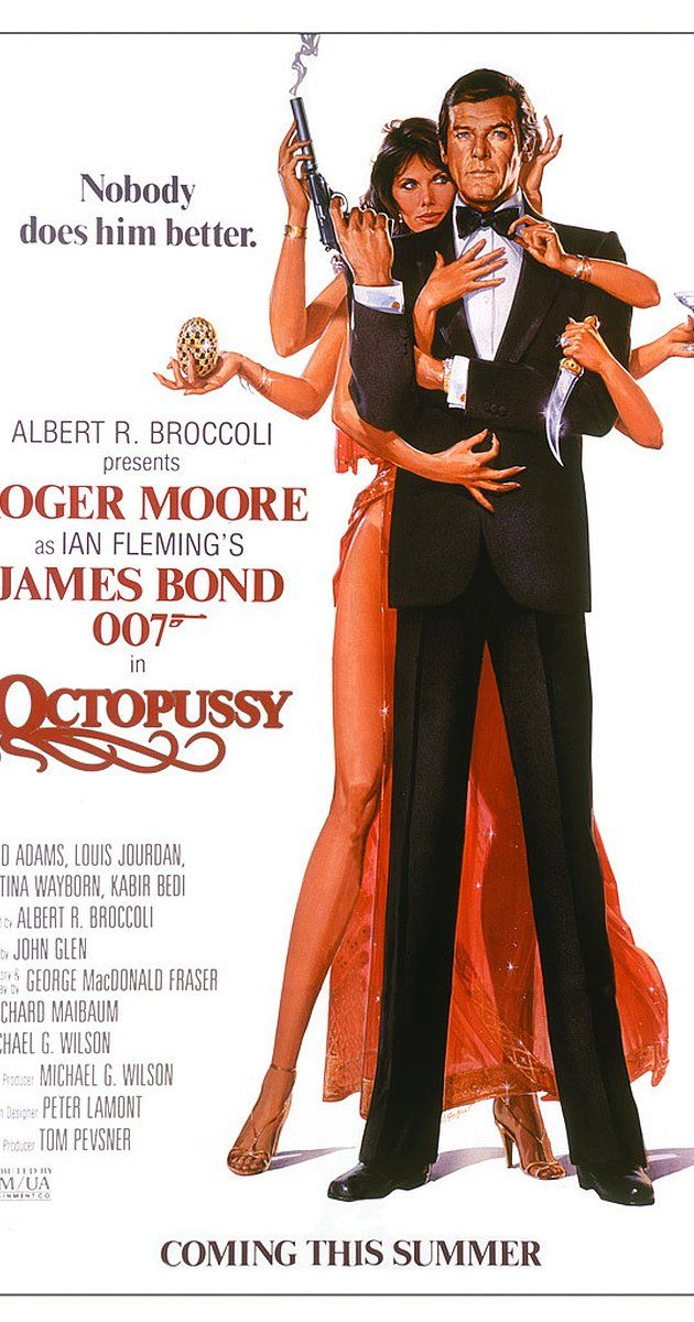 Directed by John Glen.  With Roger Moore, Maud Adams, Louis Jourdan, Kristina Wayborn. A fake Fabergé egg and a fellow agent's death lead James Bond to uncover an international jewel-smuggling operation, headed by the mysterious Octopussy, being used to disguise a nuclear attack on N.A.T.O. forces.