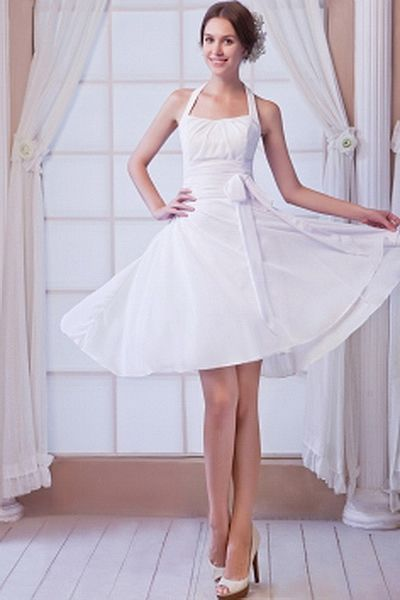 White A-Line Sweetheart Party Dress ted0860 - SILHOUETTE: A-Line; FABRIC: Chiffon; EMBELLISHMENTS: Bowknot , Ruched; LENGTH: Short - Price: 139.3600 - Link: http://www.theeveningdresses.com/white-a-line-sweetheart-party-dress-ted0860.html