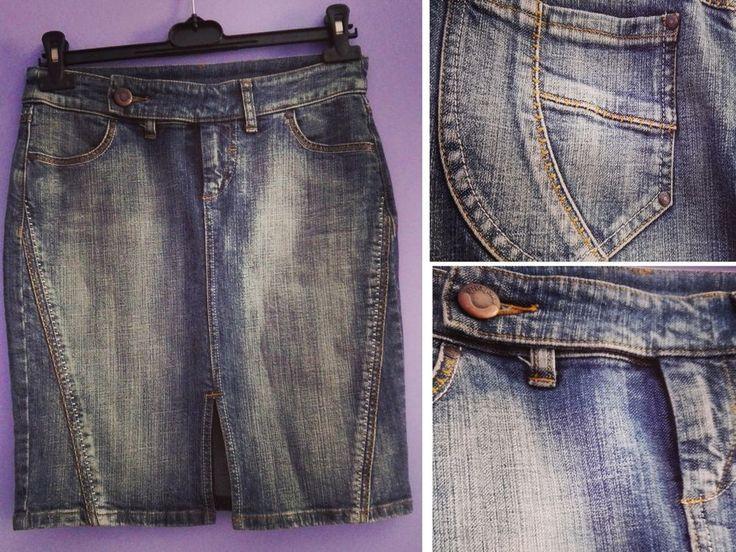 Gonna denim blu MANGO jeans S 38 40 tasche made in Italy midi al ginocchio skirt