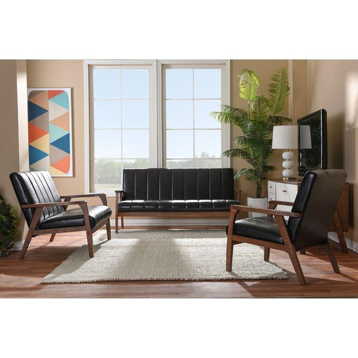 Baxton Studio Nikko Mid Century Modern Scandinavian Style Dark Brown Faux  Leather Wooden 3  Part 98