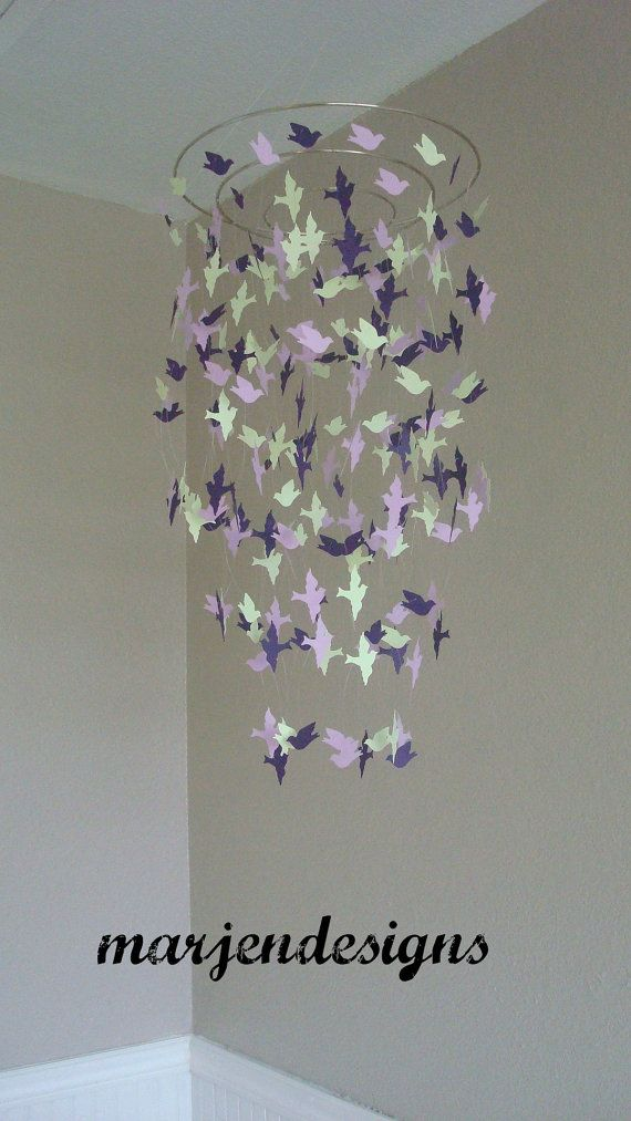 Beautiful green light and dark lavender bird mobile crib mobile teen room decor photo prop nursery baby shower gift