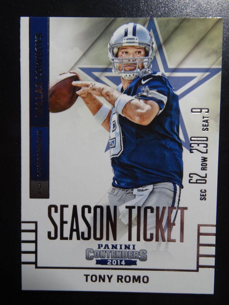 2014 Panini Contenders Season Ticket #37 Tony Romo Dallas Cowboys Card  #DallasCowboys