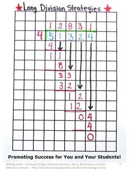FREE Long Division Graph Paper Math Strategies for 4th 5th & 6th Grade: You will receive printable graph paper and a worksheet that models this math problem solving strategy. This method also works well for special education students.