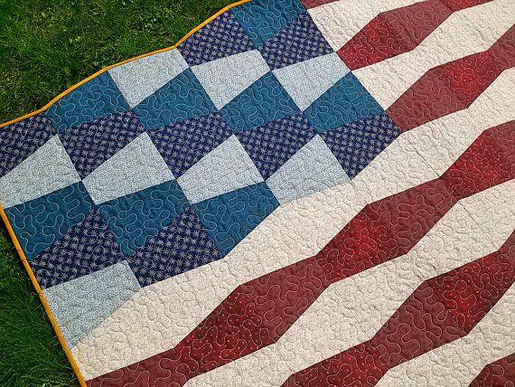 Tumbler Flag Quilt- interesting
