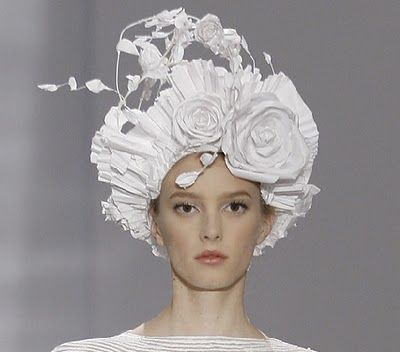 Paper floral headpieces created by Katsuya Kamo for Karl Lagerfeld