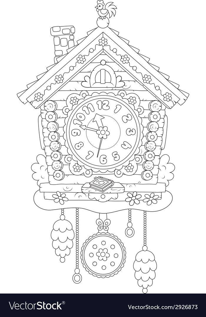 Картинка часы с кукушкой раскраска
