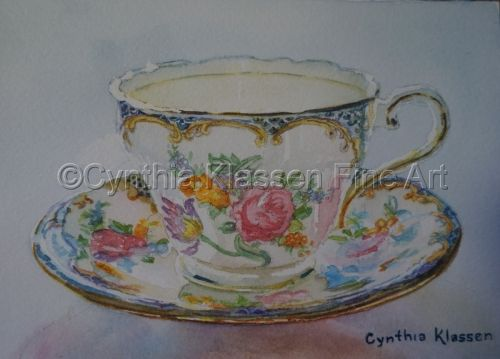 Aynsley Tea Cup II is part of my realistic watercolor tea cup painting series. Prints are available at CynthiaKlassen.com.