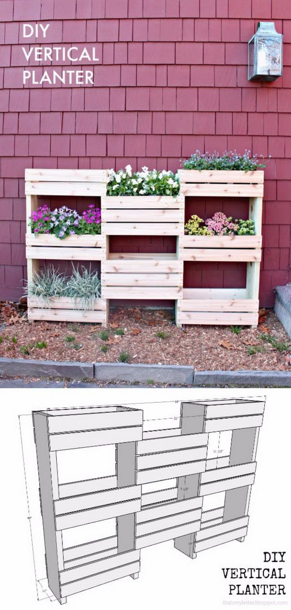 The 25 best pallet planter box ideas on pinterest for Vertical planter boxes