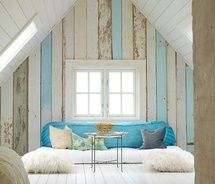 wow.... lovely room! love the blues & whites, window & wall stripes >> Lovely!