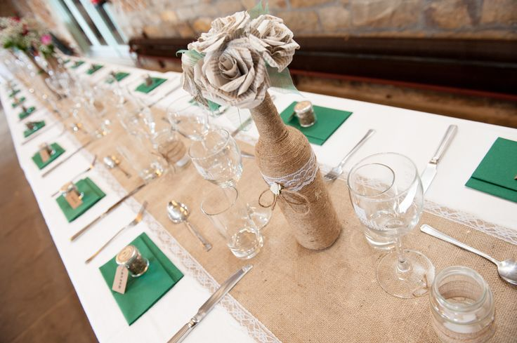 Homemade wedding. Burlap and lace. Twine wrapped bottles. Paper bouquet. Rustic barn wedding